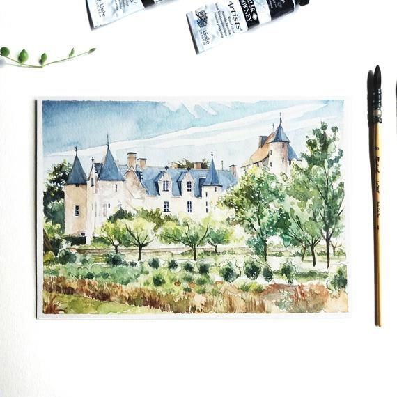 Original Watercolor Painting The Olympic Table Castle Of Loire