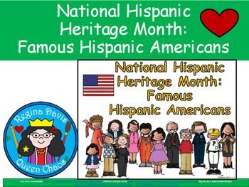 $ National Hispanic Heritage Month: Famous Hispanic Americans.  Read about these famous Americans to your students. Enjoy! Regina Davis aka Queen Chaos as Fairy Tales And Fiction By 2.