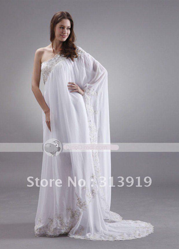 free shipping one shoulder saree style kaftan beach wedding dress 2012 new style US $158.00