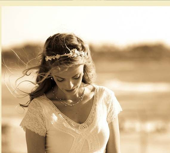 BRIDAL FLOWER CROWN Wedding Lace Headband Floral by carellya