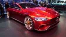 Mercedes-AMG stretches GT sports car into a 4-door for Geneva   Share  Facebook  Tweet  Pinterest  Email     Mercedes-Benz broke the cone of silence on AMG GT Four-Door Coupe (known as a sedan outside Germany) at the Geneva auto show on Tuesday. The Affalterbach-bred sports sedan gets a choice of the new 429-hp 384-lb-ft 3.0-liter I6 in the GT53 model a 577-hp 553-lb-ft twin-turbo V8 in the GT63 or 630 hp 627 lb-ft from the same V8 in the GT63 S model. All get nine-speed automatics. The I6…