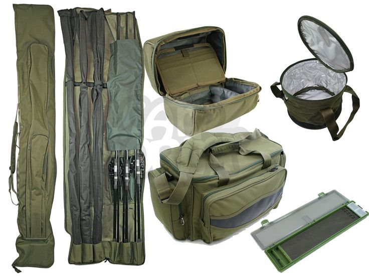 NGT Carp Fishing Luggage Deal Set 3+3 12ft Rod holdall Carryall Rig Wallet Boilie or Groundbait Bait Bin