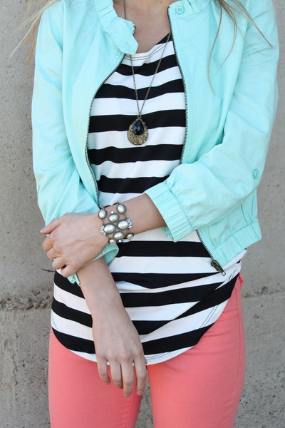 Lightweight mint jacket!  Perfect for spring and summer!  Love it paired with our coral jeans and striped tee!  www.sevenandcoboutique.com