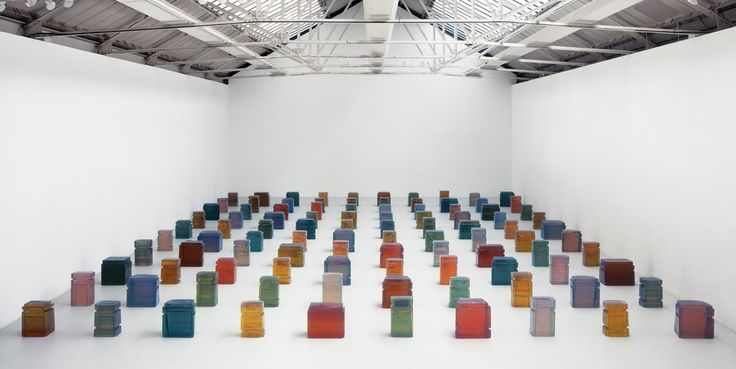 Rachel Whiteread - Untitled (One Hundred Spaces) 1995 Resin (100 units) Dimensions variable