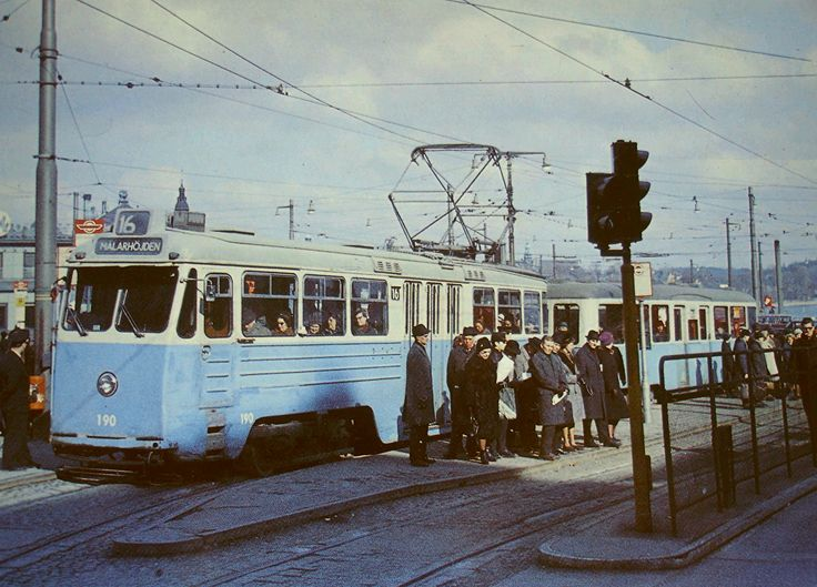 A tram is ready to go out to Malarhojden, a nice suburb of Stockholm. In 1964 this line converted to subway.