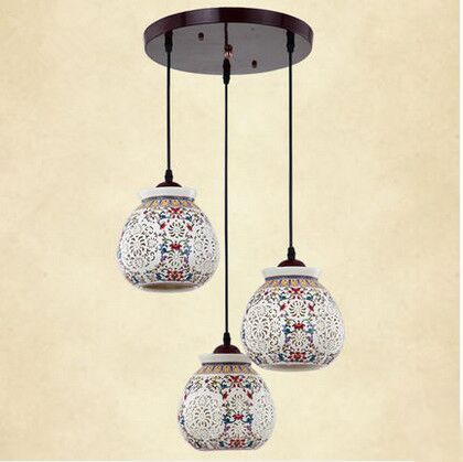 Asian E27 LED Vintage Pendant Light 3 Head Lamp Hanging Chinese Ceramic Loft Coffee Bar Restaurant Kitchen Lights