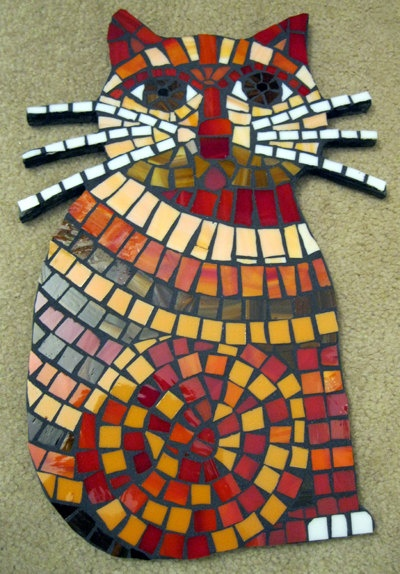 """14.5"""" Cheerful Sitting Cat with Whiskers Stained Glass Mosaic Tile Wall Art $295.00, via Etsy. Cute!!!"""