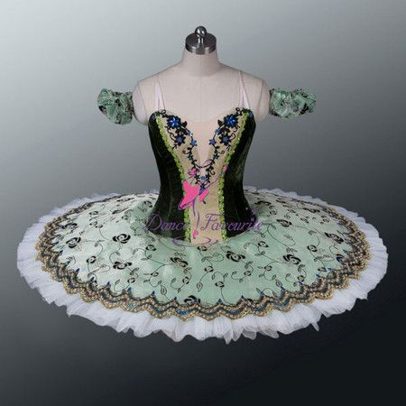 "This professional stage costume is perfect to use for the variation and the pas de deux of the ballet ""Esmeralda"". It is also suitable for many other classical variations. The tightly fitted bodice is"