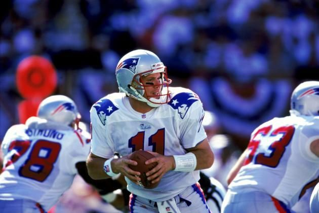Drew Bledsoe started until he was injured and replaced by Tom Brady.