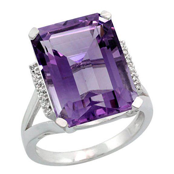 Revoni Sterlingsilber Amethyst und Diamant Ring, Smaragdschliff Stein (16x12 mm)