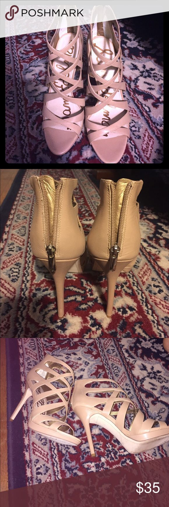 Sam Edelman heels Nude/beige strappy heels; a few blemishes but nothing very noticeable. Does not come with original box. Sam Edelman Shoes Heels