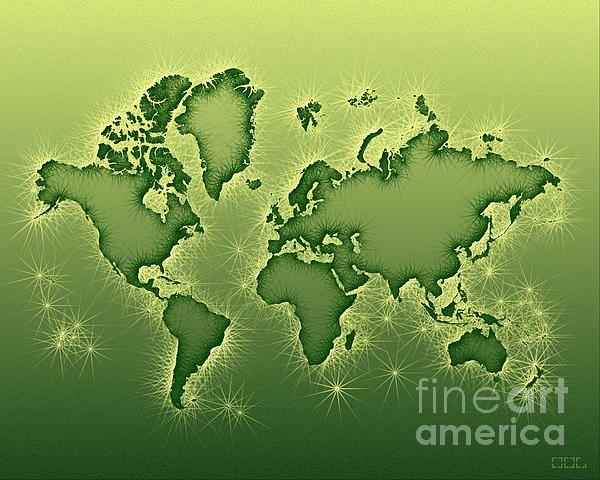 World Map Opala In Green And Yellow by elevencorners. World map art wall print decor #elevencorners #mapopala
