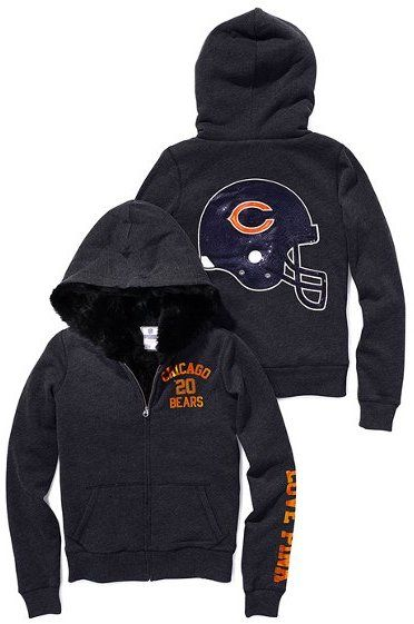 chicago bears sequined clothing | Victoria's Secret Pink® Chicago Bears Faux-fur-lined Bling Zip Hoodie ...