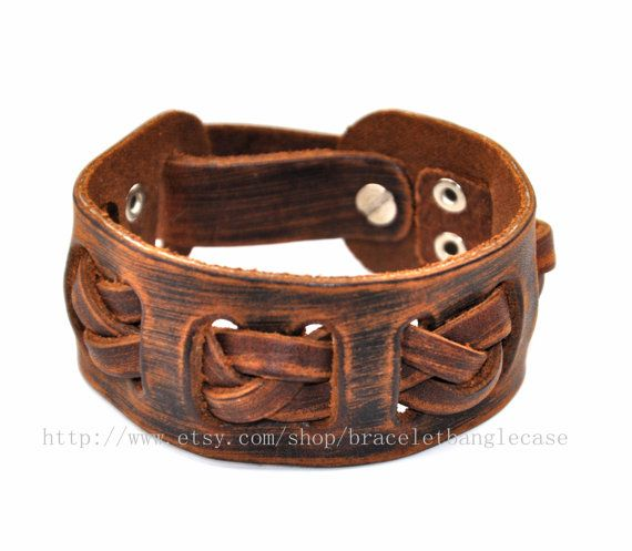 Brown leather bracelet  leather cuff woven by braceletbanglecase