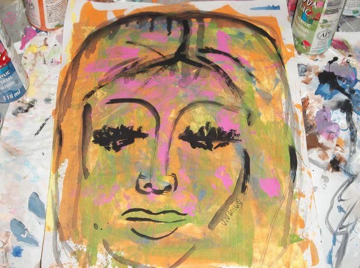 Face portrait painting acrylic paints original painting ooak