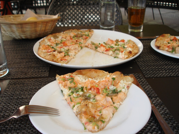 Lydia Shire's lobster pizza at Scamp at the Liberty Hotel in Boston is to die for.
