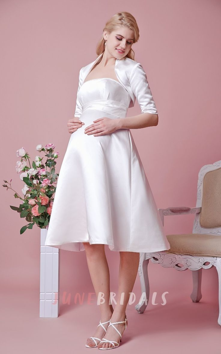 66 best maternity wedding dresses images on pinterest maternity shop affordable elegant strapless tea length satin dress with removable jacket at junebridals over 8000 chic wedding bridesmaid prom dresses more are ombrellifo Images