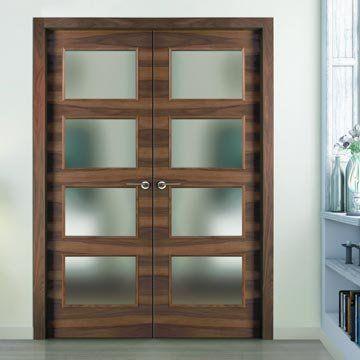 Sanrafael Lisa Glazed Double Door - L62VA4 Grain Balanced Walnut Prefinished. #glazeddoubledoors #internaldoors #doorswithglass