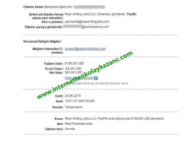 real writing jobs payment proof-ödeme kanıtı