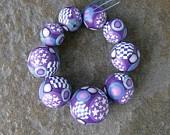 Handmade Set 9 Graduated Purple Canework PC Beads