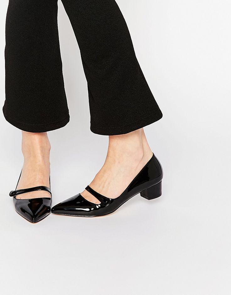 Image 1 of Miss KG Audrina Black Patent Mid Heeled Mary Jane Heeled Shoes