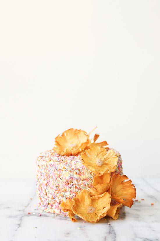 DIY pineapple flower cake topper.