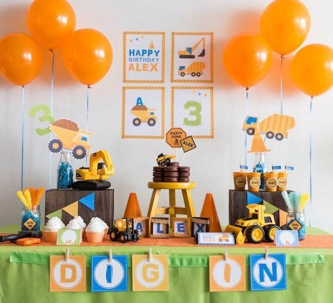 Boy's Construction Themed Birthday Party