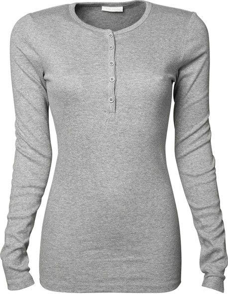 camiseta manga larga mujer con botones de tee jays en la sección camisetas lisas de basic estil.