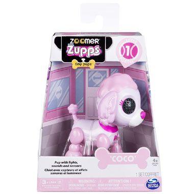 Zoomer Zupps poedel Coco  Maak kennis met Coco de schattige poedel van de Zoomer familie. De interactieve pup is roze van kleur en maakt lieve geluiden.  EUR 19.99  Meer informatie
