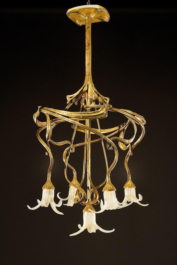 ** TONY SELMERSHEIM (1871-1971), lustre en bronze doré