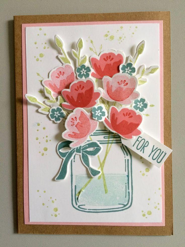 """Hallo allemaal!     Dit keer weer een bloemenkaart,gemaaktmet de """"Jar of Love""""stempelset van Stampin' Up! Nu heb ik de kleuren inkt..."""