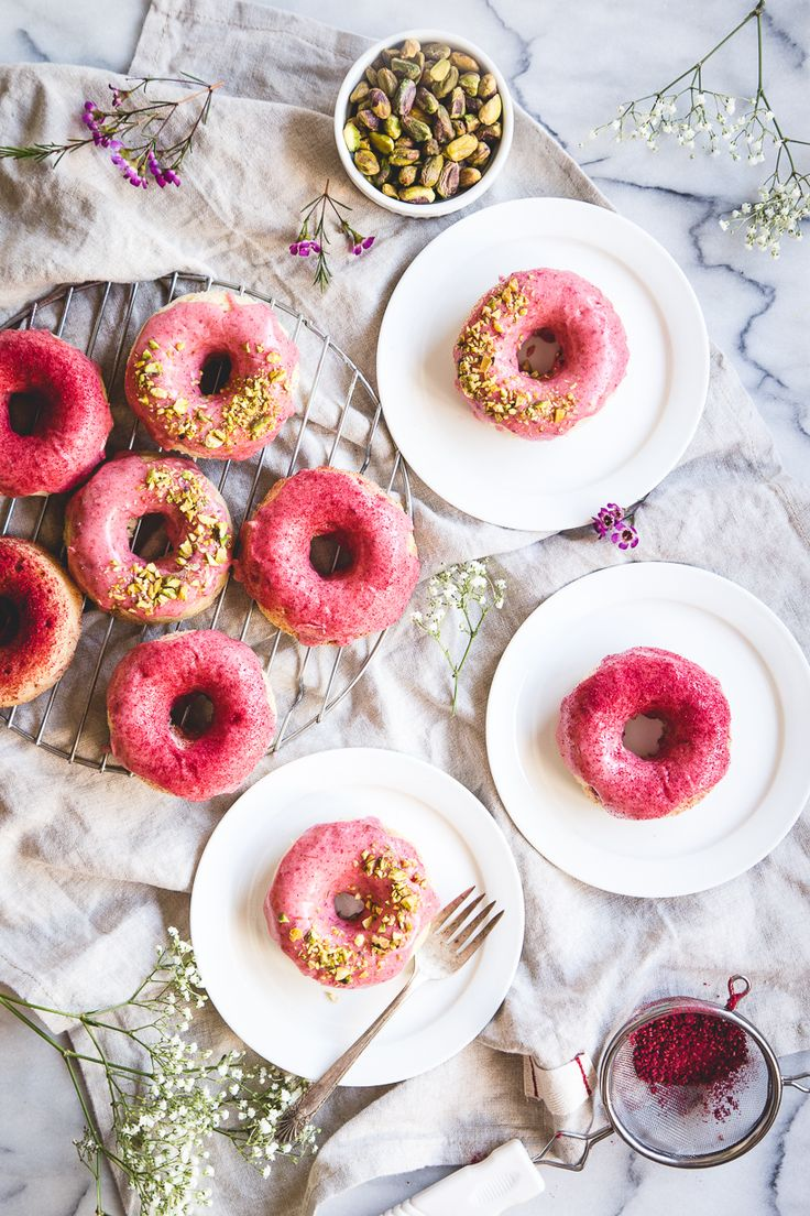 Strawberry Buttermilk Baked Donuts