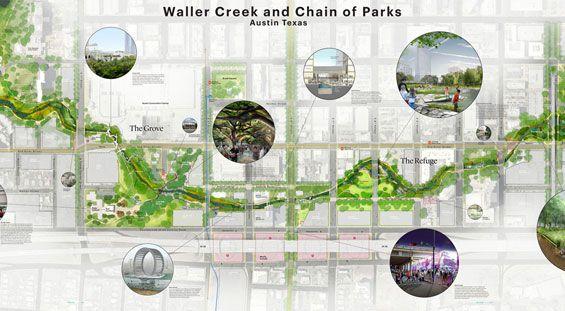 Michael Van Valkenburgh Associates with Thomas Phifer & Partners win Waller Creek Design Competition