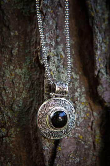 Avazera Courage Collection-925 Sterling Silver, Black Agate Pendant