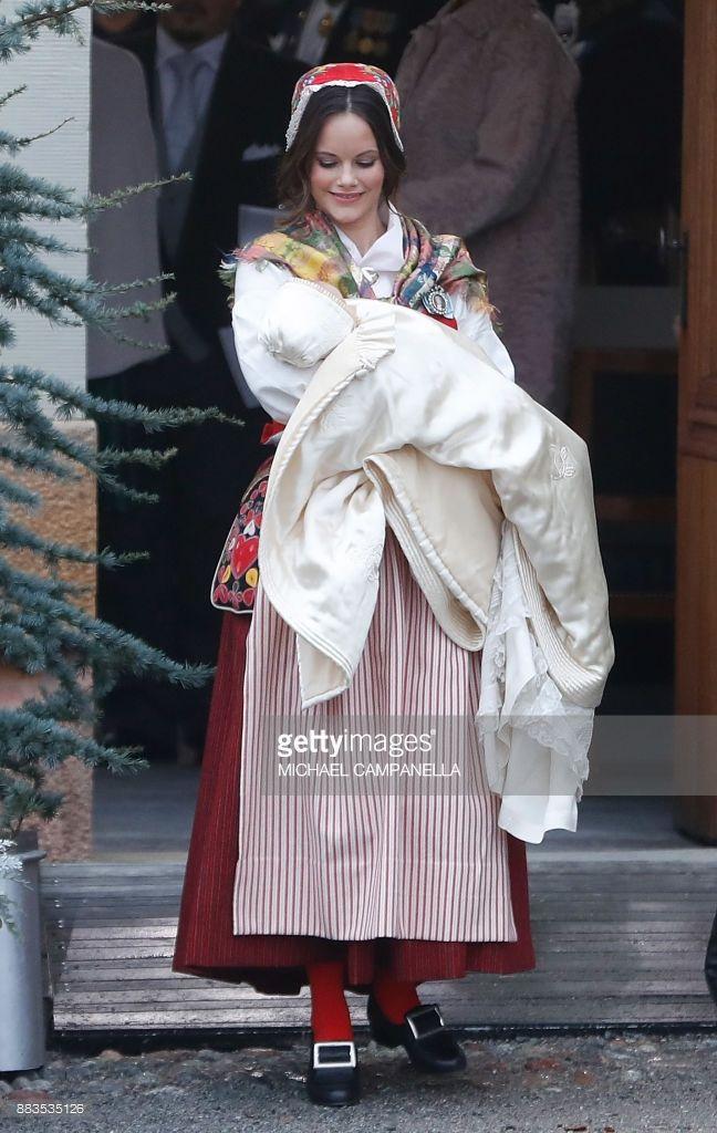 orderofsplendor: Christening of Prince Gabriel, December 1, 2017-Princess Sofia wore the traditional folk dress of Älvdalen, where she grew up, for the christening of her son Prince Gabriel, who is Duke of Darlarna; Älvdalen is located in Dalarna.