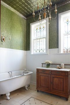 Tin Ceiling In Bathroom. A Traditional Bathroom With Brilliant Green Tin Ceilings