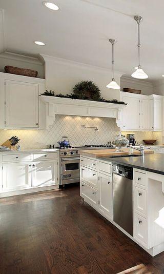 spacious open concept white kitchen