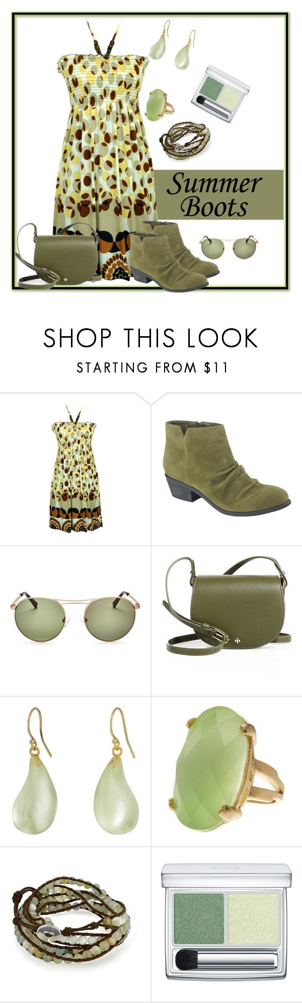 """""""summer boots"""" by pam-doel ❤ liked on Polyvore featuring jon & anna, Bella Marie, Kendall + Kylie, Tory Burch, Alexis Bittar, Rivka Friedman, Bling Jewelry and RMK"""