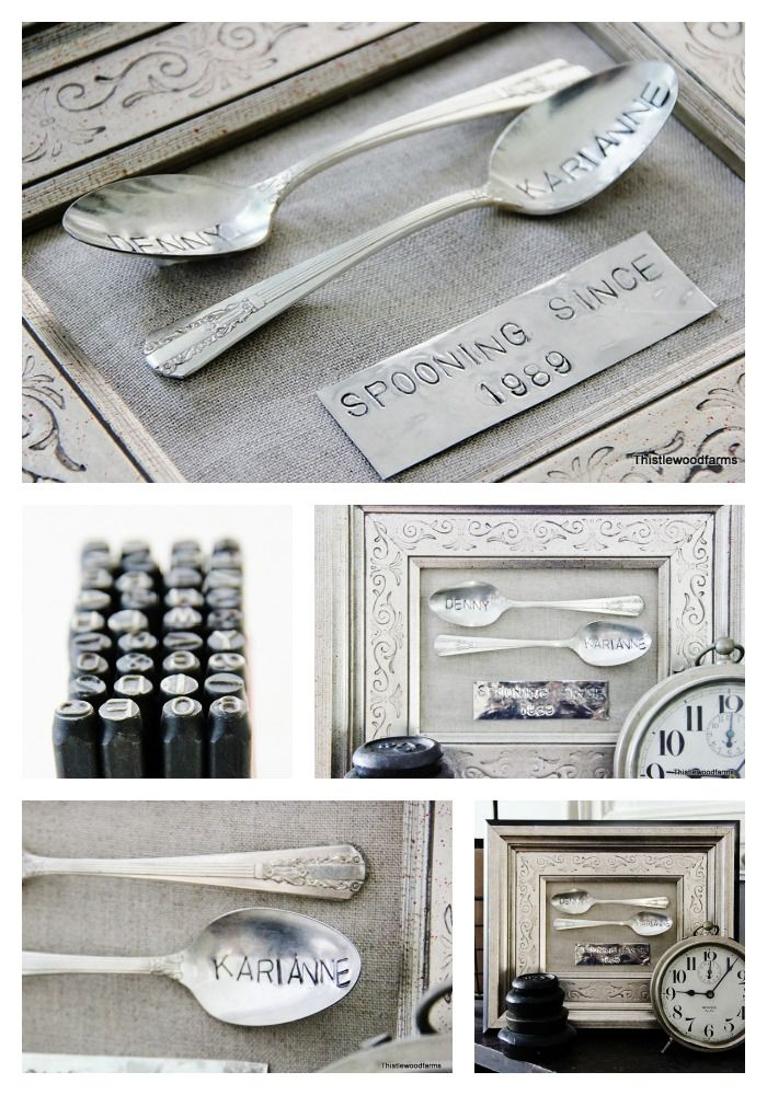 stamped tin and spoons - cute anniversary gift! also love the double frame