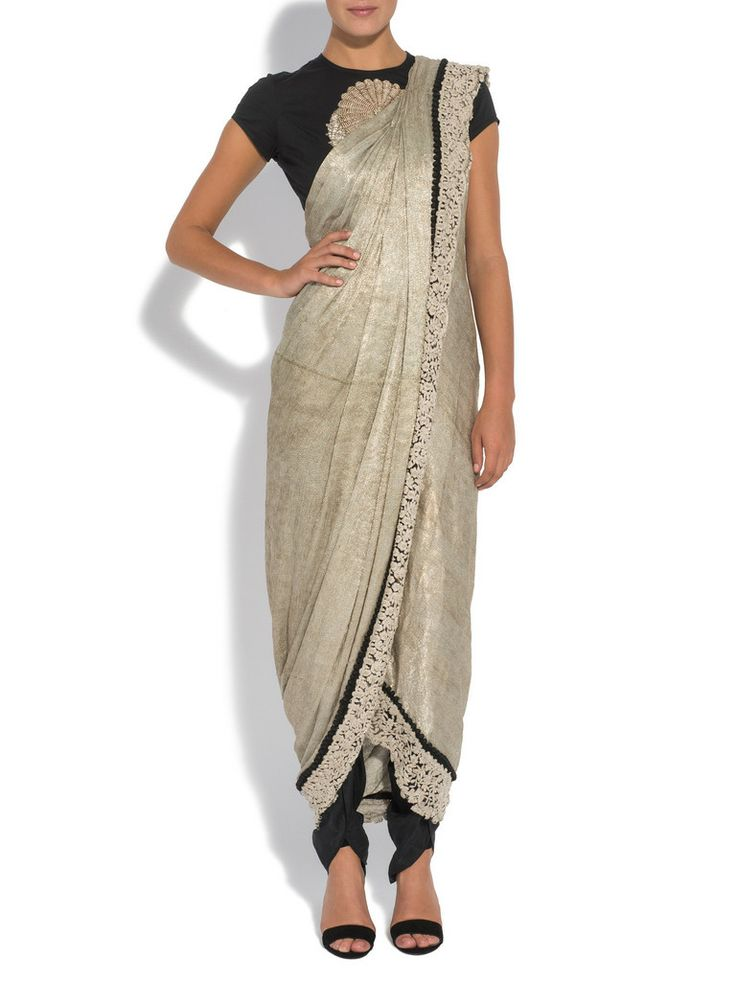 ANAMIKA KHANNA Silver textured drape sari set