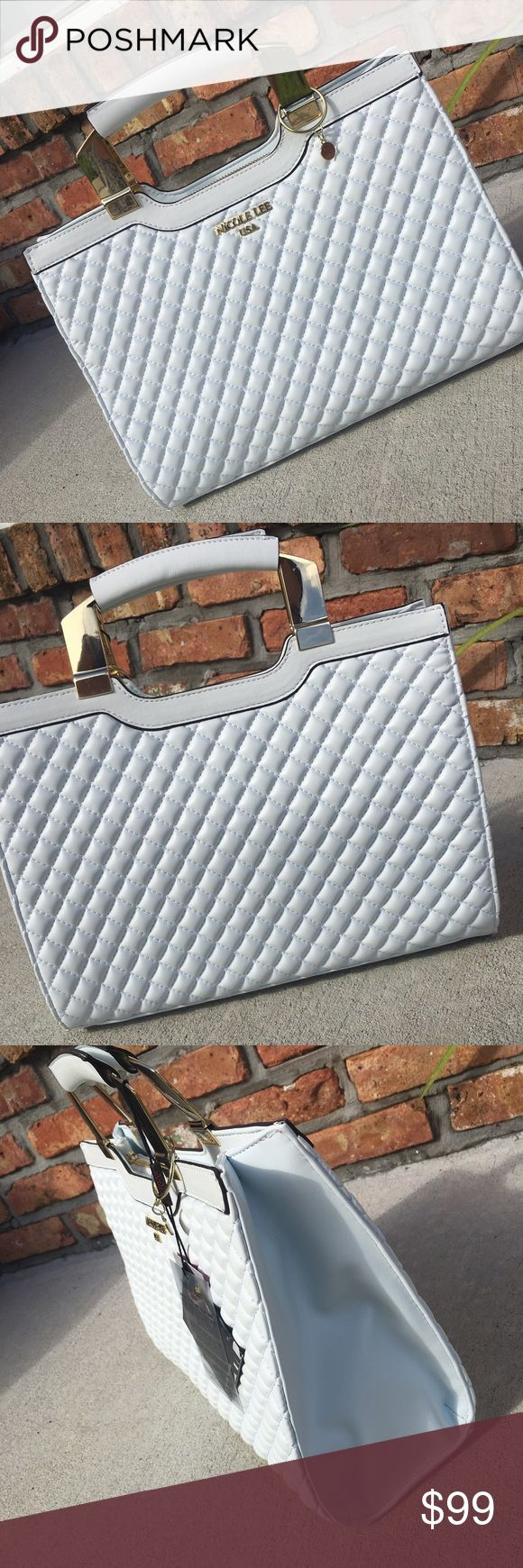 White Nicole Lee handbag New .. White quilted handbag, with gold details .. Comes with attachable & adjustable shoulder strap ..no trades ..no holds ..firm unless bundling Nicole Lee Bags Totes