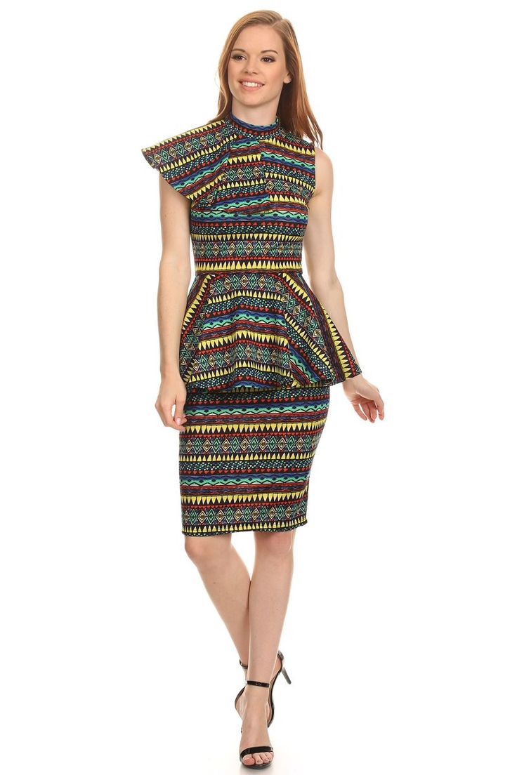 Amazonia Side Rock Peplum Midi Dress