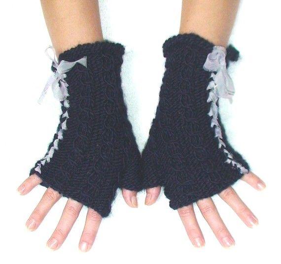 Fingerless Gloves Wrist Warmers Hand Knit Dark Blue by LaimaShop