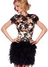 Falda de baile de color champaña de organza y de pluma con escote redondo ajustada mini