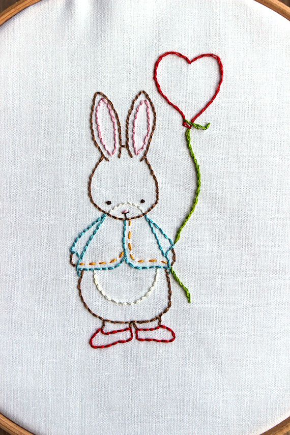 Hand Embroidery Pattern Some Bunny Loves You PDF by bumpkinhill