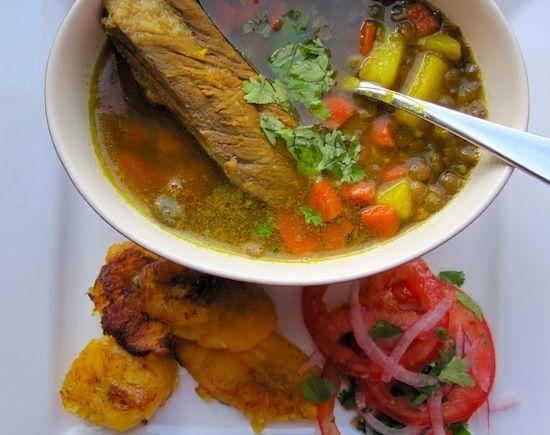 Sopa de Lentejas con Costilla de Cerdo(Lentil Soup with Pork Ribs) hope it comes out like your moms @Andrea Campo-Velez