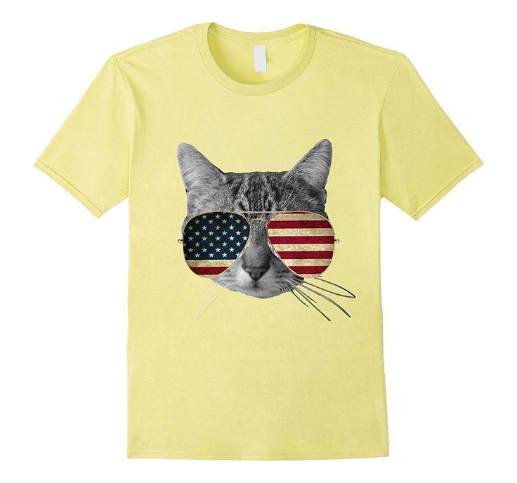American Cat With Sunglasses shirt - American Flag Cat