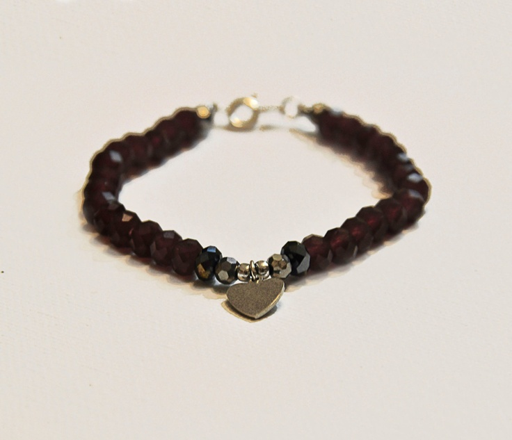 Deep Purple Beaded Bracelet with Silver Heart Charm by amourose, $14.99