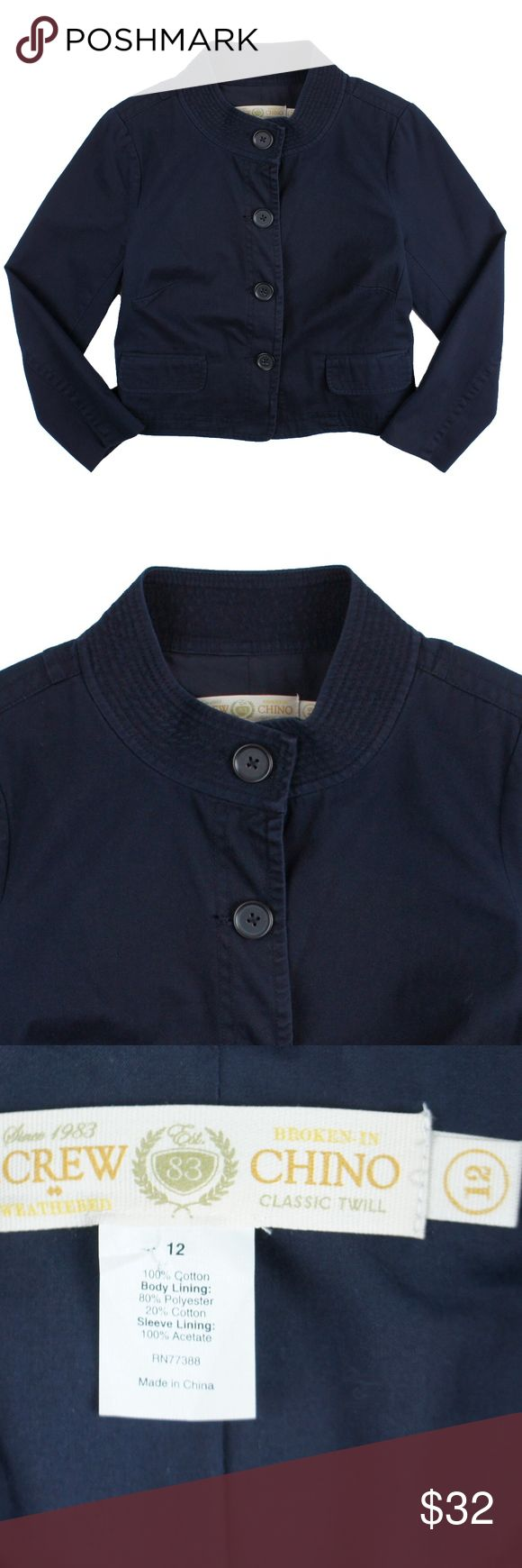 "J Crew Navy Blue Cotton Chino Jacket Size - 12  This navy blue cotton chino jacket from JCREW is in excellent condition. It features button closures and is fully lined. Made of 100% Cotton.   Measures:  Bust: 41"" Total Length: 20.5"" Sleeves: 22.5"" J. Crew Jackets & Coats"