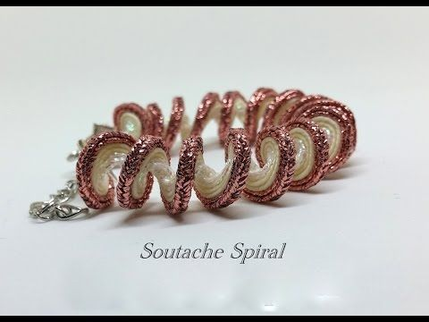 Beautiful Spiral Soutache bracelet  Step by Step Tutorial -  free video YouTube. Bracciale soutache. Spirale soutache.